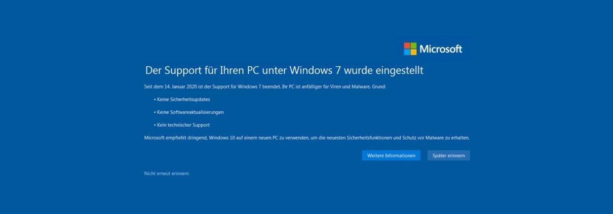 Support-Ende von Windows 7, was nun?
